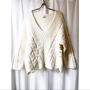 Anthropologie cream cable knit sweater
